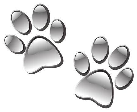 paw prints: Glassy paw prints