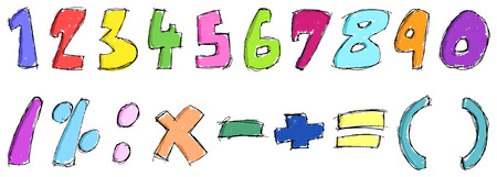 Colorful sketchy numbers Stock Vector - 7858807