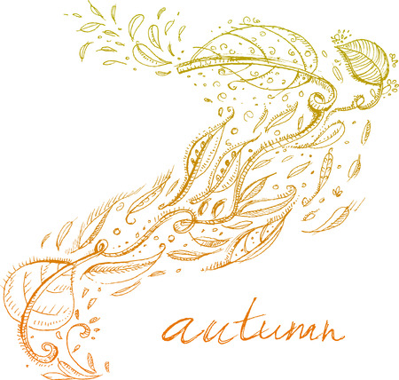 hand-drawn autumn background Stock Vector - 7898141