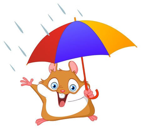 rainy: Cheerful hamster holding umbrella Illustration