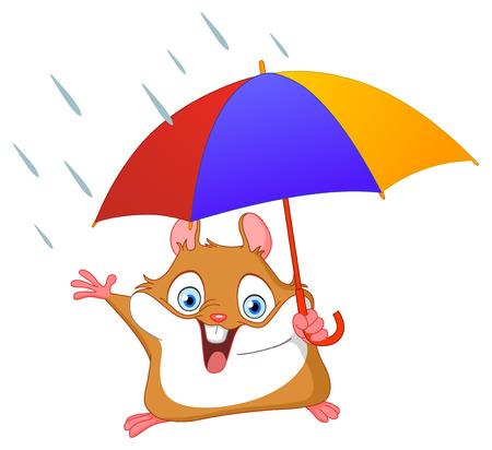 Hámster alegre celebración paraguas