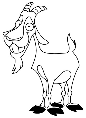 billy goat: Outlined billy goat Illustration