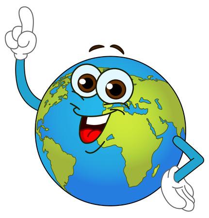 planeta tierra feliz: Globo de mundo de dibujos animados apuntando con su dedo
