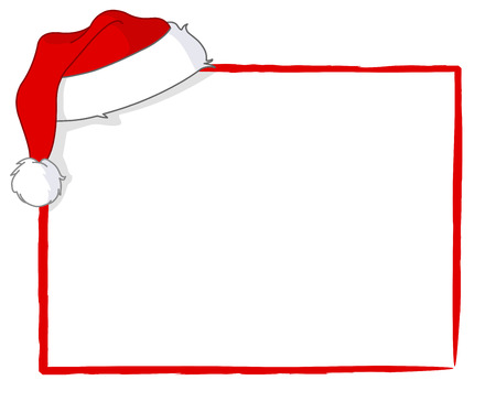 christmas costume: Santas cap hanging on a blank card Illustration