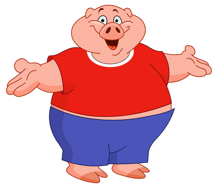 snout: Cartoon pig raising his arms