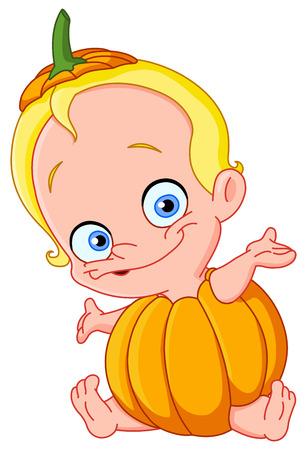 Cute baby dressed as a pumpkin