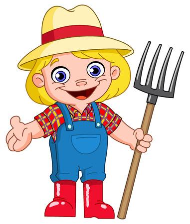 農家: 若い農夫  イラスト・ベクター素材