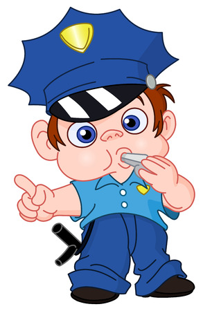 cartoon police officer: Young policeman