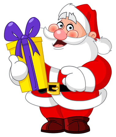 showing: Santa Claus carrying a gift