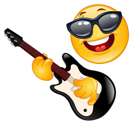 rockstar: Rock emoticon playing the guitar