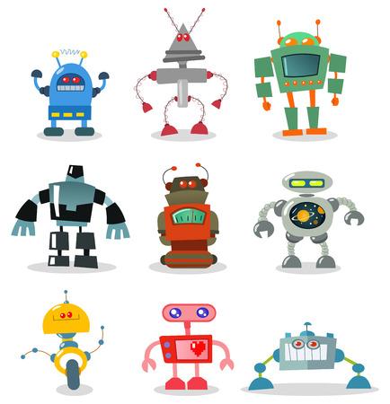 robot caricatura: Conjunto de robot  Vectores