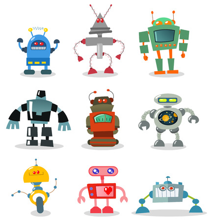 robot cartoon: Robot set