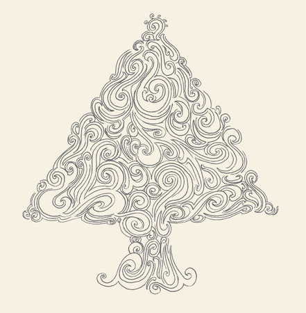 christmas scroll: Christmas tree hand-drawn Illustration