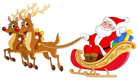 Santa montando su trineo