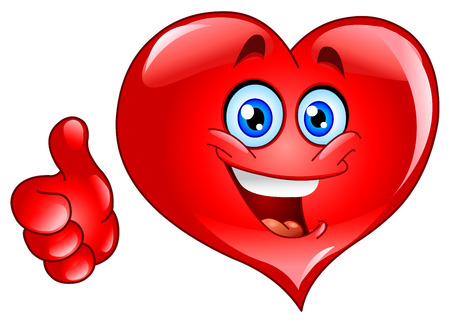 Smiley thumb up heart Vector