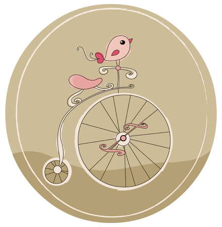 Retro bicycle with bird Vector