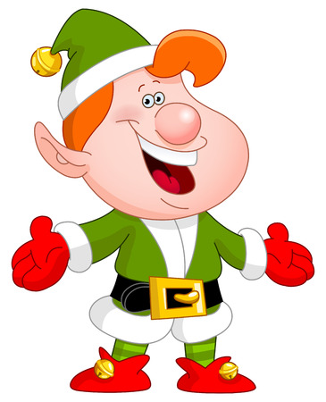 Cheerful elf raising his arms Vector