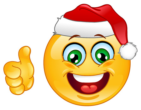 smiley face cartoon: Christmas emoticon with thumb up Illustration