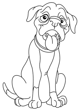 Outlined boxer dog Vector
