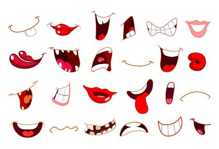 persona enojada: Conjunto de boca de dibujos animados