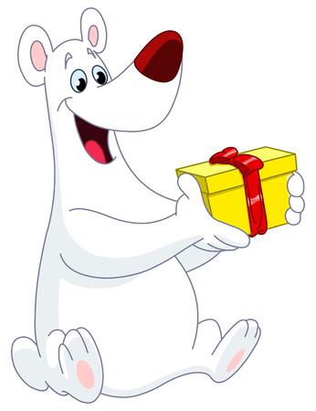 Polar bear holding his Christmas gift Vector