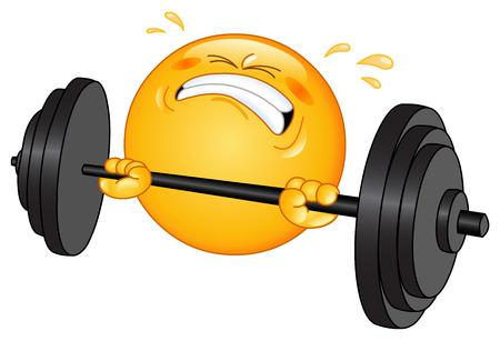Gewichtheffer emoticon  Vector Illustratie