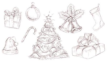 hand bell: Vector Christmas doodles Illustration