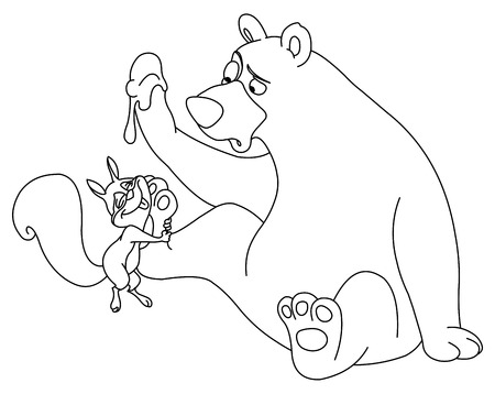 Outlined bear and squirrel Vector