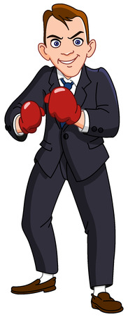 tackling: Businessman with boxing gloves