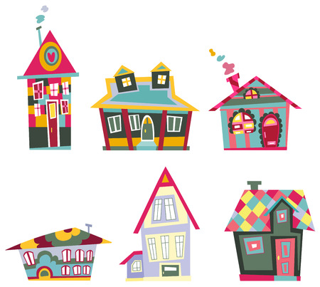 Decorative house set Stock Vector - 8376319