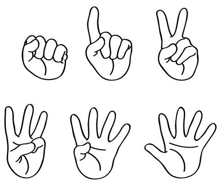 Esbozado contando los dedos Ilustración de vector