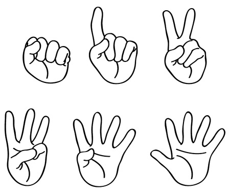 Outlined counting fingers Vector