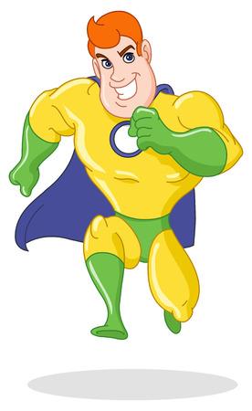 cartoon superhero:   hero running