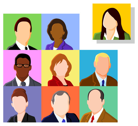 man face profile: Business people avatar set