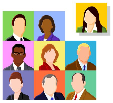 perfil de mujer rostro: Conjunto de avatar de personas de negocios Vectores