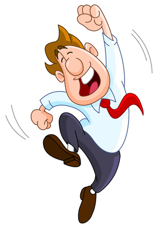 businessman jumping: Happy businessman
