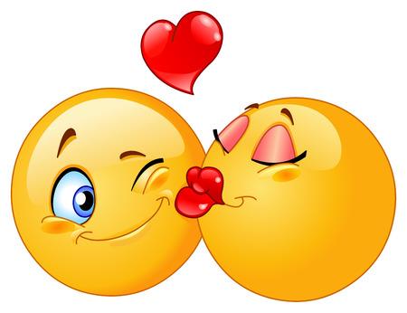 Kissing emoticons Stock Vector - 8524813