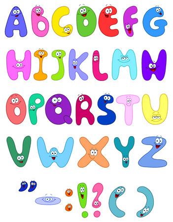 write abc: Cartas de dibujos animados Vectores