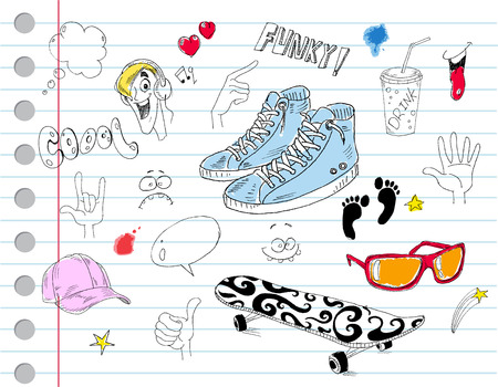 Cool notebook doodles Vector