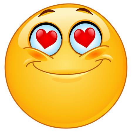 smiley: In liefde emoticon Stock Illustratie