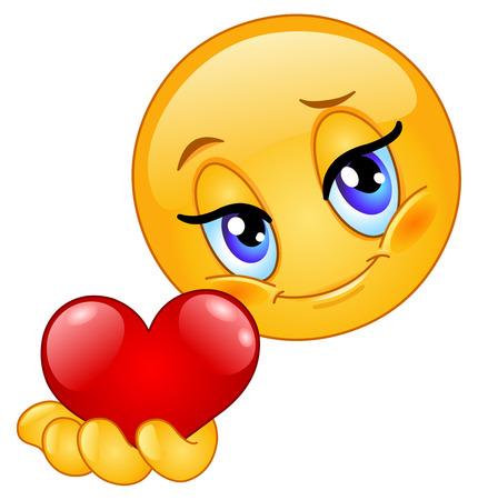 shy: Emoticon giving heart