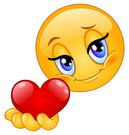 cara sonriente: Icono gestual dando de coraz�n