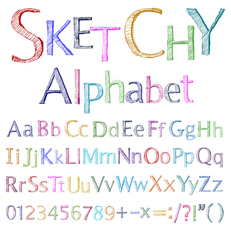 alphabet letter a:  sketchy alphabet Illustration