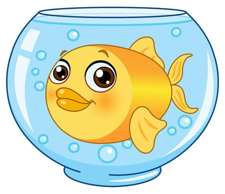 aquarium eau douce: Goldfish dans un bol. Illustration