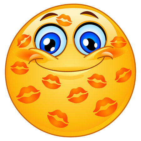 Emoticon with many kisses Vector