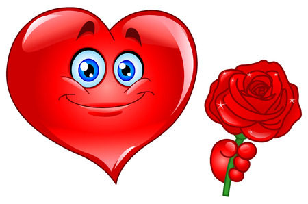 hand holding flower: Heart with rose