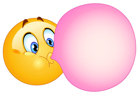 blowing bubbles: Emoticon blowing a bubble gum