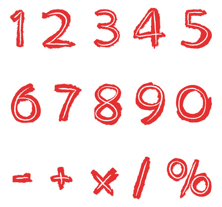 hand drawn red numbers Vector