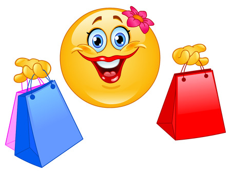 happy emoticon: Shopping emoticon Illustration