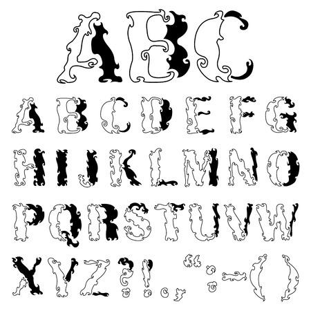 initial: Alfabeto decorativo disegnati a mano di Vector